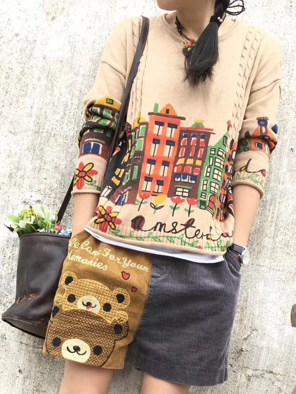 Anna Round Neck Ethnic Sweater Top with City Life Prints