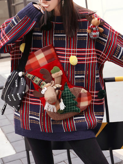 Plaids Pullover Sweater Top with Santa Deer Boot Stitches