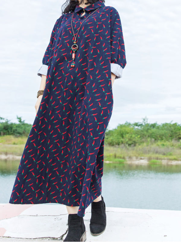 Christine Lapel Neck Grinding Vintage Maxi Dress with Spice Prints