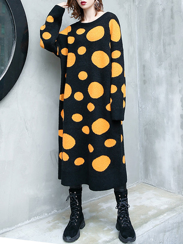 Lucky Round Neck Knit Midi Dress with Variant Polka Dots