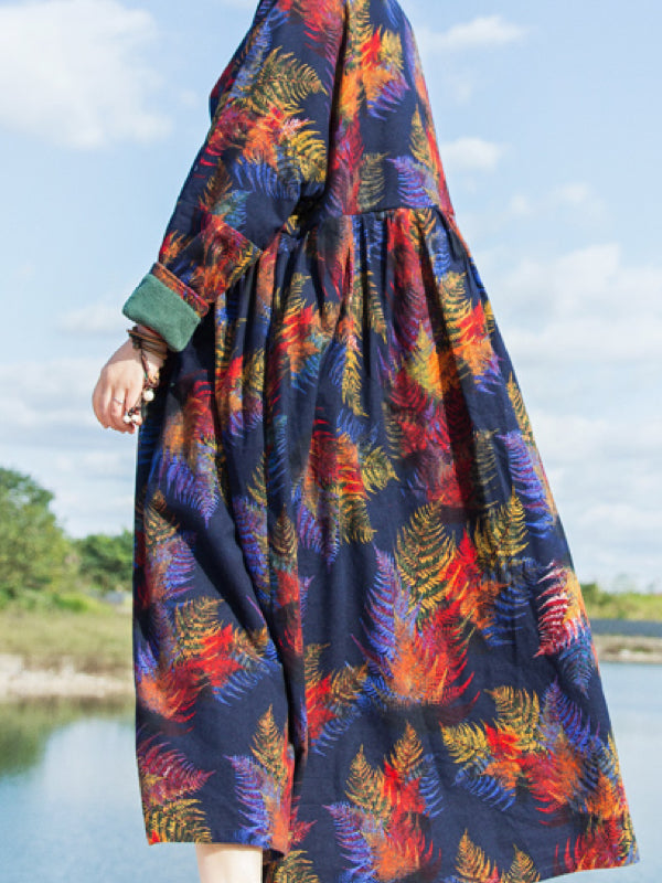 Teresa V-Neck Thicken Grinding Cotton Maxi Dress with Floral Prints