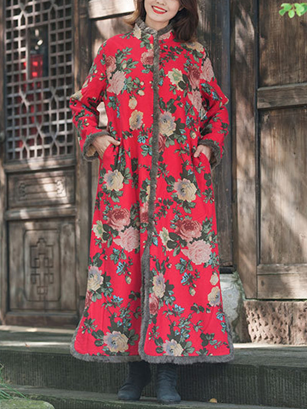 Manci Thicken Cotton Overcoat with Floral Prints