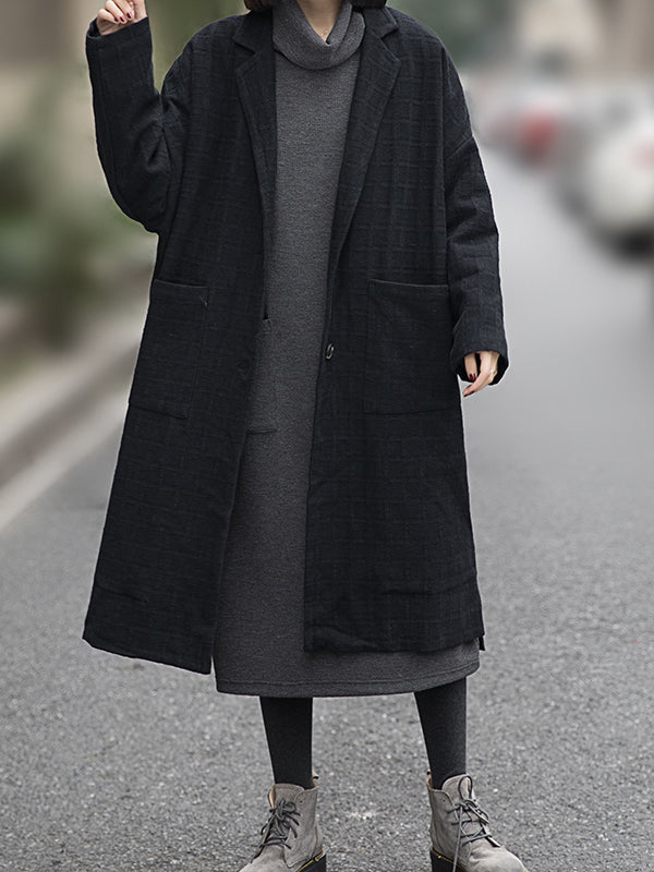 Rose V Neck Linen Thicken Coat with Pockets