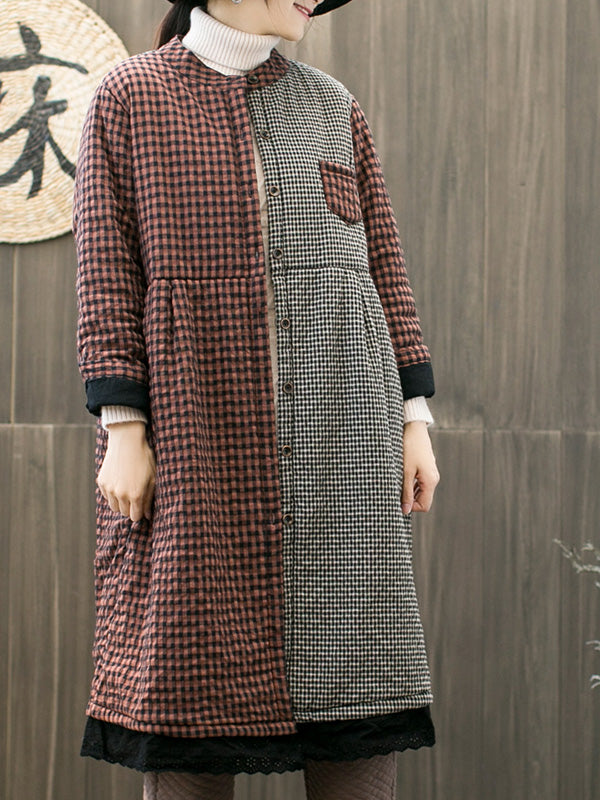 Janice Stand Neck Vintage Plaids Quilted Coat in Dual Colors