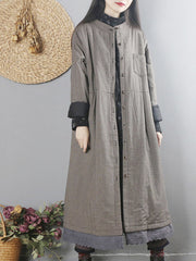 Kathy Round Neck Joint Quilted Coat with Single Breast Buttons
