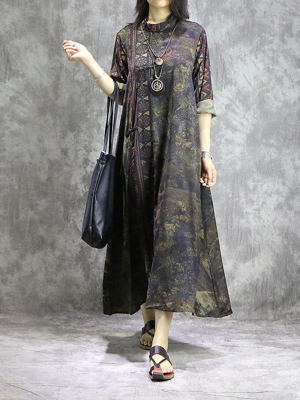 36e23b4f76 Graciela Vintage Abstract Geometric Print Maxi Dress with Knotted Buttons