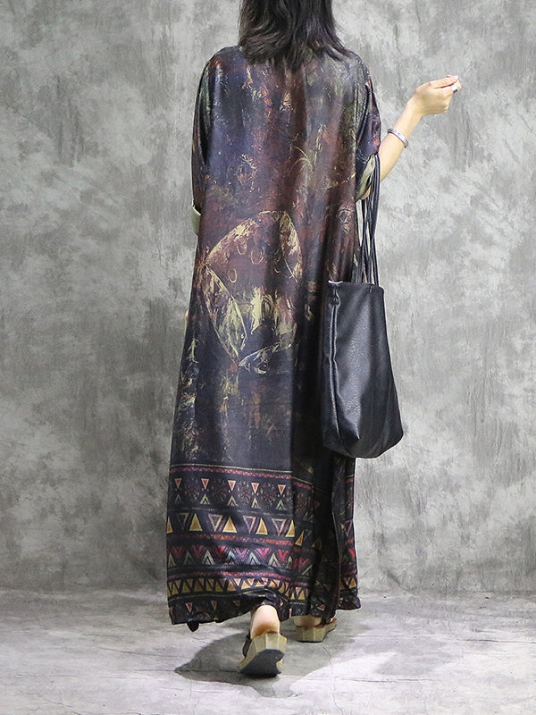 Imogene Vintage Abstract Geometric Print Patchwork Maxi Dress