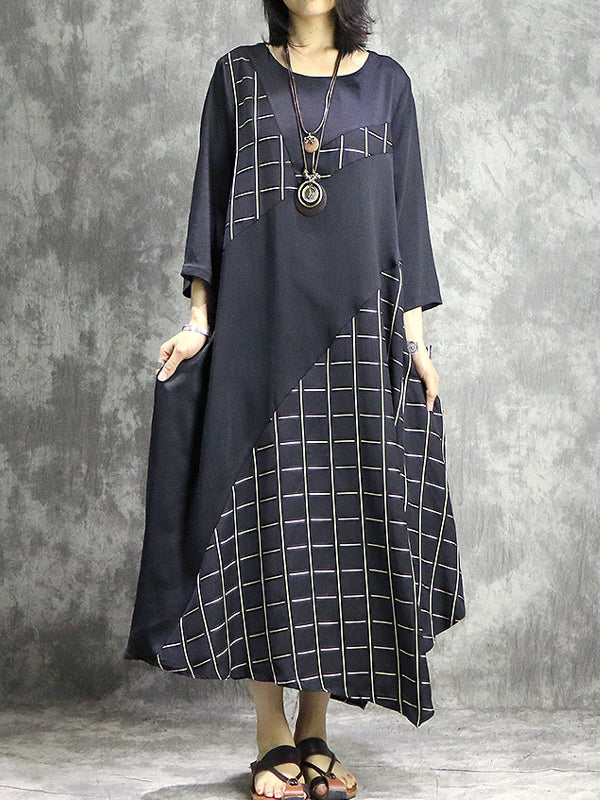 Glenna Vintage Irregular Skew Contrasting Plaid Patchwork Midi Dress