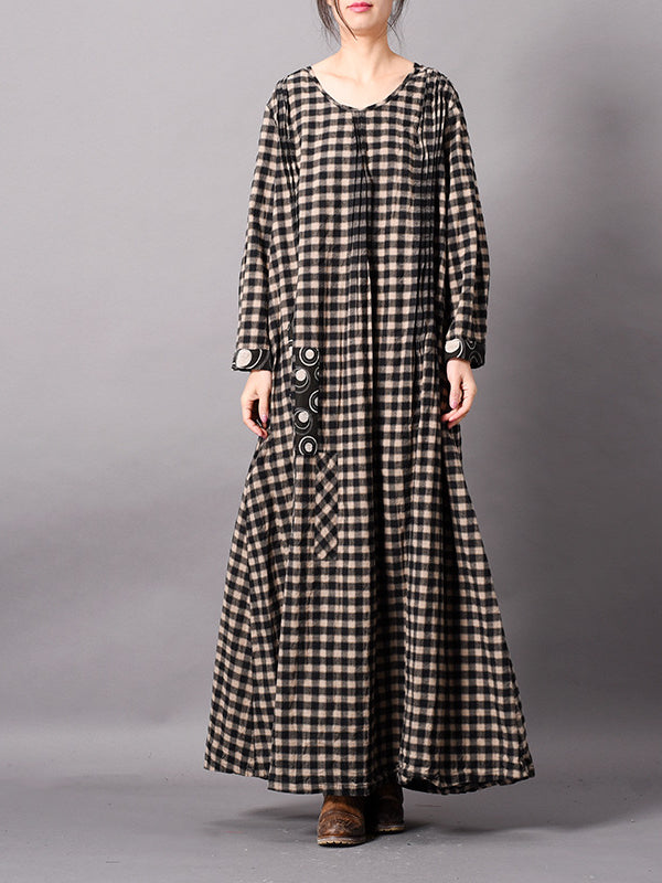 Ursula Contrasting Plaid Baggy Midi Dress with Splicing Cuffs