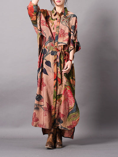 Lizzie Vintage Floral Print Belted Buttoned Maxi Dress with Pockets