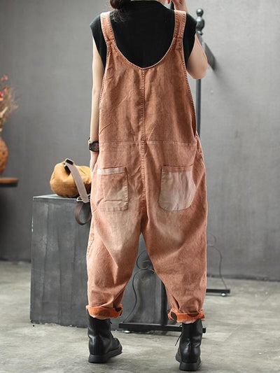 womens orange cotton dungarees