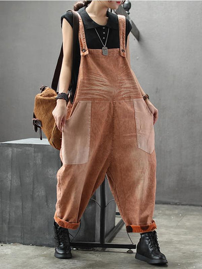 orange cotton dungarees women