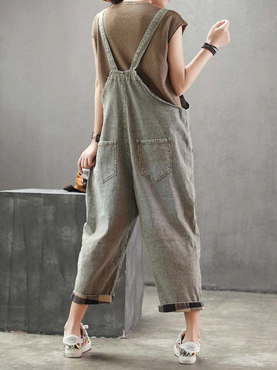 cotton dungarees for women in green