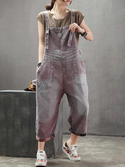 collector cotton overalls in red