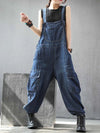 womens dark denim overalls