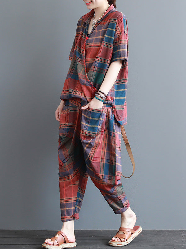 Obique Placket Plaids Harem Co-ords