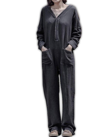 V-Neck Double Pocket Jumpsuit