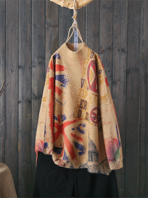 Half Neck Vintage Drop Shoulder Sweater with Signature Prints