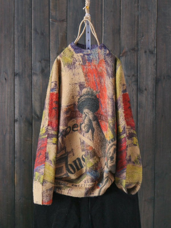 Half Neck Thicken Drop Shoulder Sweater with Liberty Prints