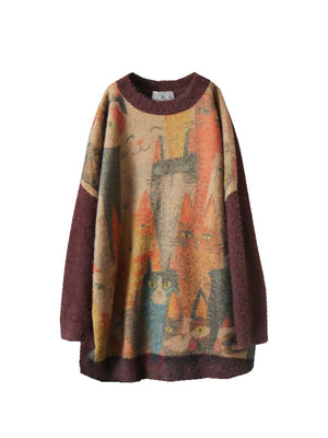 Round Neck Drop Shoulder Sweater Top with Kitty Elves
