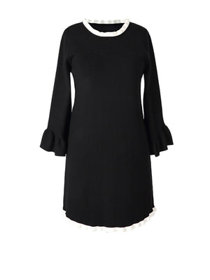Sophie Round Neck Solid Color Knit Base Dress with Ruffle Sleeves