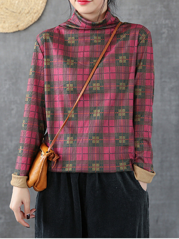 Sophia Vintage High-collar Plaid Basic Top