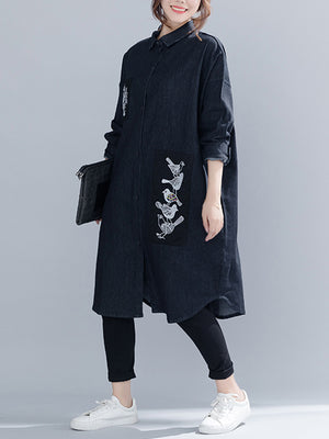 Ruth Cotton Black Shirt Dress with Birds Embroidery