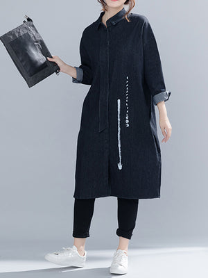 Carol Cotton Black Shirt Dress with Dots and Arrow
