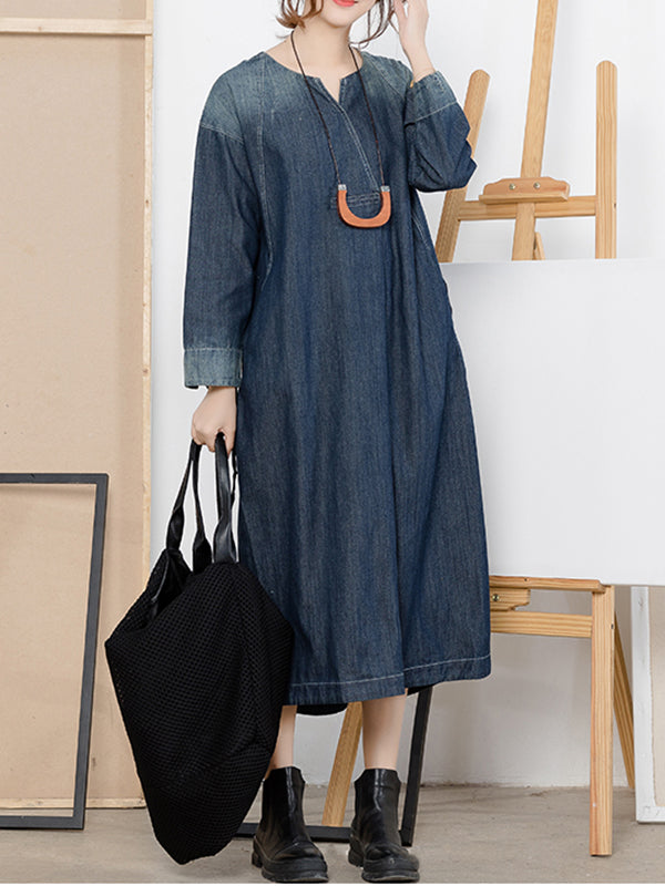Michelle Blue Denim Abrasion Shift Dress with Pockets