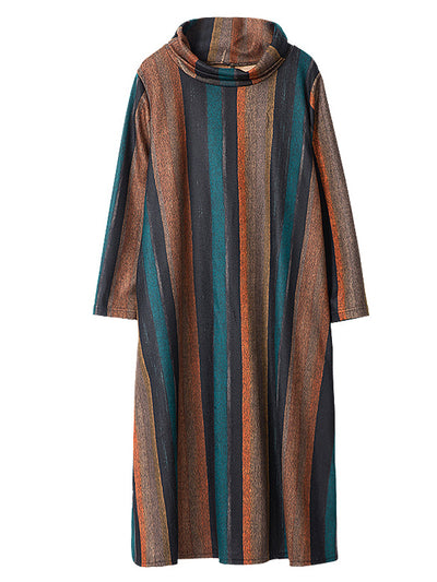 Lucia High-neck Contrasting Stripes Midi Dress