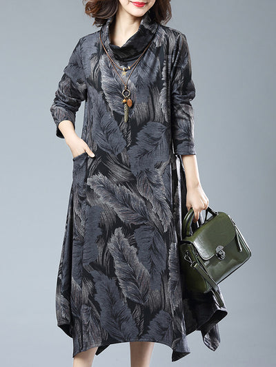 Miranda Vintage High-neck Leaf Printed Midi Dress