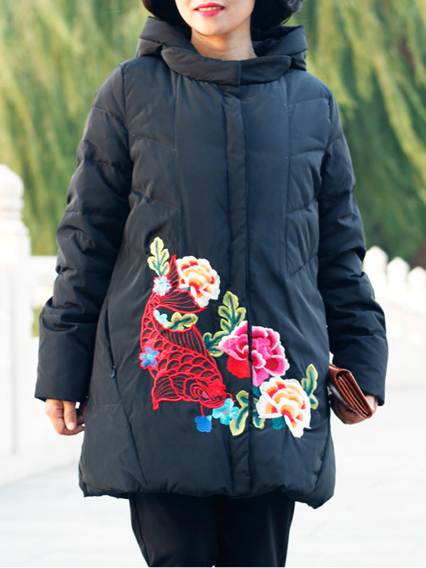 Courtney Hooded Quilted Down Coat with Fish & Floral Embroidery