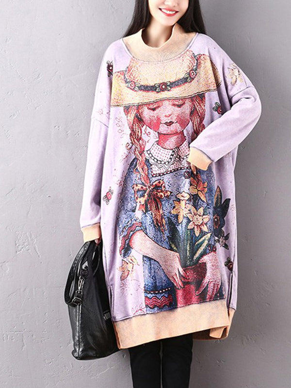 Thicken Pullover Hoodie Dress with Portrait and Floral Prints