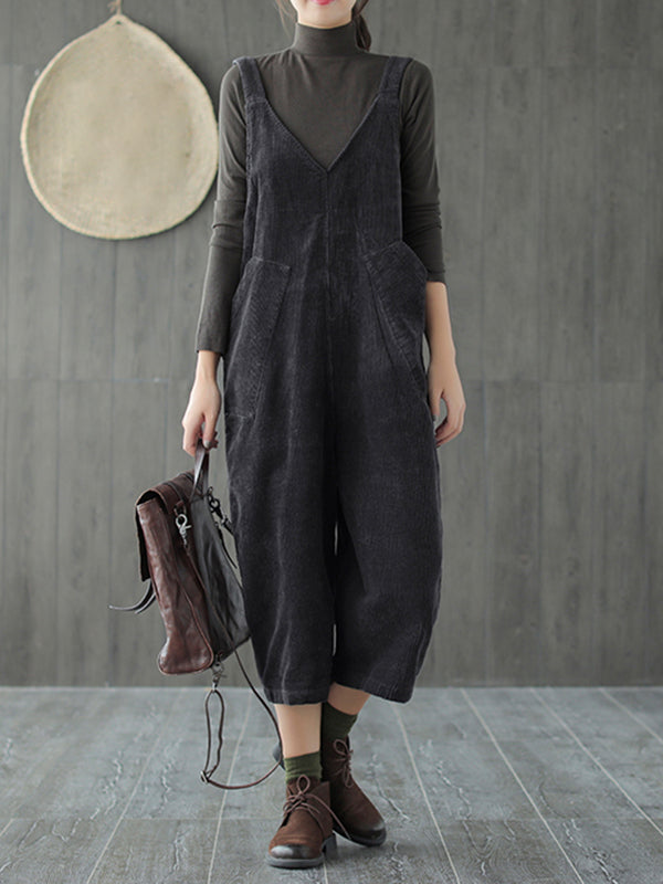 Naomi Corduroy Ethnic Overall Dungarees with V Neck