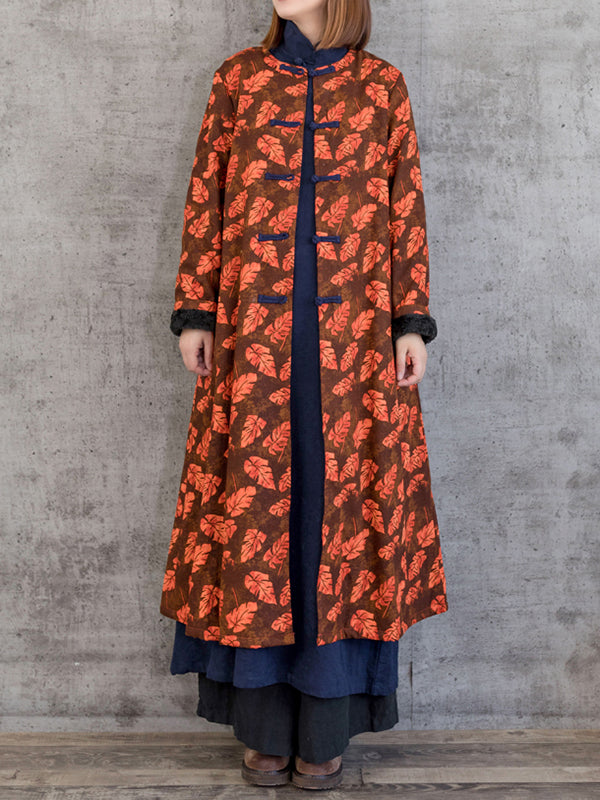 Single-Breasted Overcoat with Leaf Prints