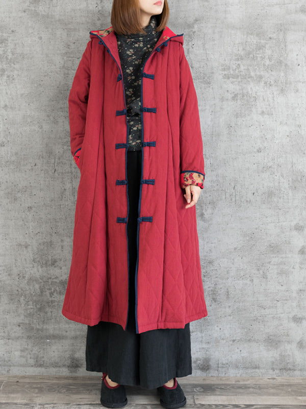 Vintage Hooded Overcoat with Buttonhole Loop