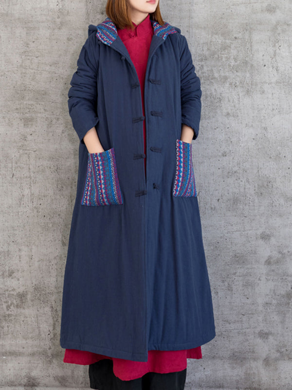 Hooded Cotton Overcoat with Buttonhole Loop