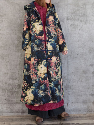 Ethnic Hooded Overcoat with Floral Prints