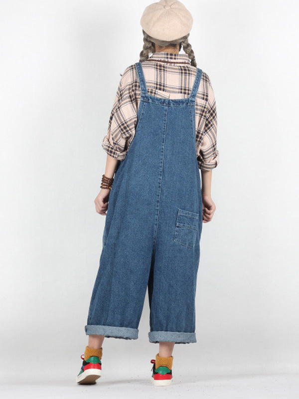 Leona Solid Color Harem Overall Dungarees with Patched Pockets