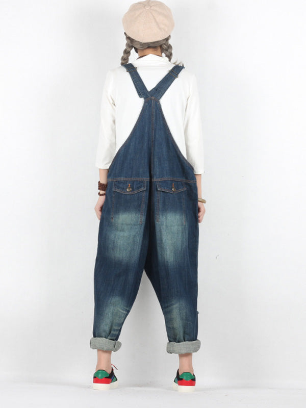 Tracey Ripped Denim Abrasion Overall Dungarees with Pockets