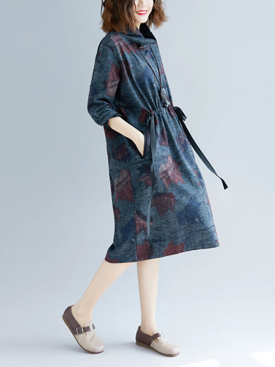 High Collar Smock Dress with Leaf Prints