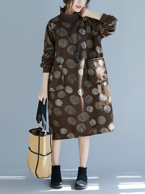 High Collar Pocket Dress with Polka Circle Prints