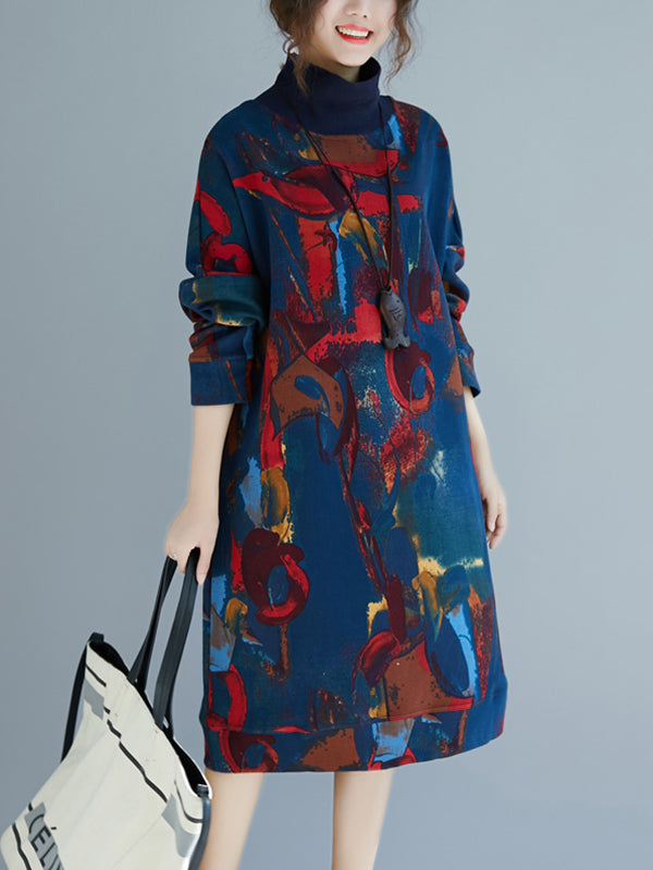 High Collar Ethnicl A-Line Dress with Flroal Prints