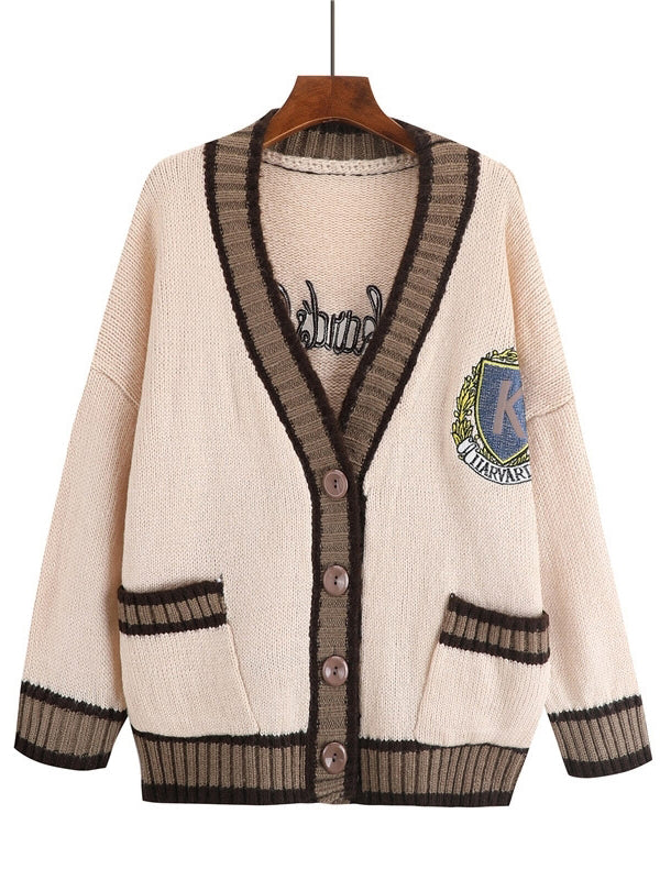 V-Neck Pocket Knit Cardigan with Uni Badge