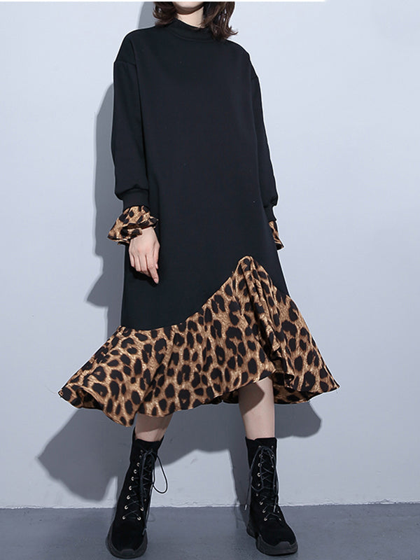 Black Leopard Prints Remix A-Line Dress with Trumpet Sleeves