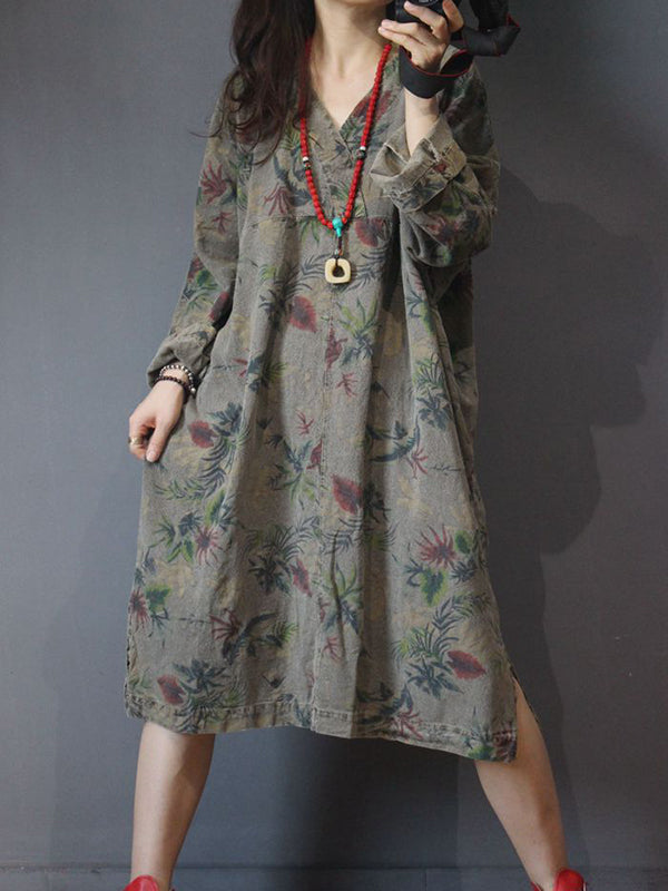 Vintage Linen & Cotton Midi Dress with Batwing Sleeves
