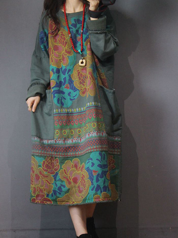 Round Neck Pullover Midi Dress with Ethnic Prints