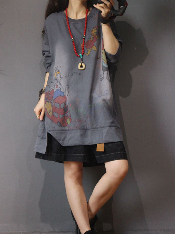 Round Neck Pullover Hoodie Dress with Cartoon Birdie Prints