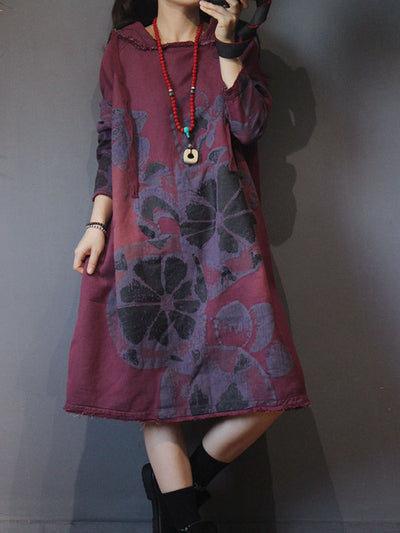 Pullover Hoodie Dress with Ethnic Floral Prints