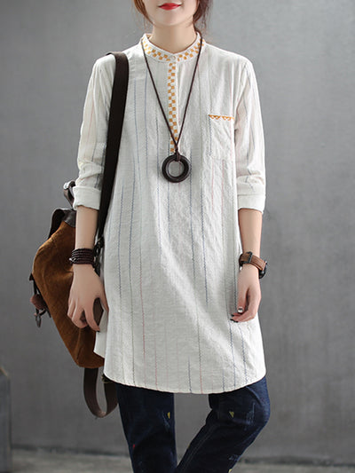 Brigitte Stand Neck Linen Cotton Shirt with Front Pocket